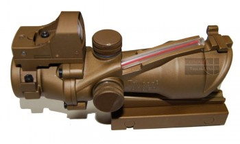 ACM Acog TA-31 4x32 sight with mini reflex sight and Iron sight (Tan)